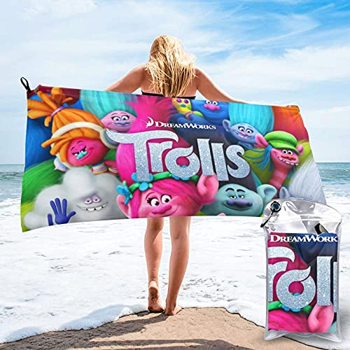 YYFF TroLls Toalla de playa, Hippie Boho toalla de baño de microfibra para mujeres, sin arena,...