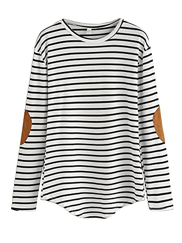 Milumia Women's Elbow Patch Striped High Low Top T-Shirt Black and White Medium