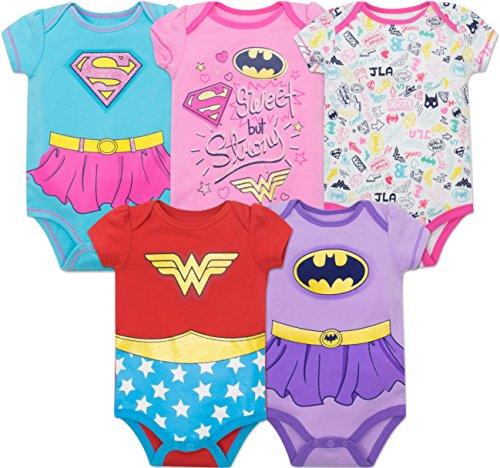 Warner Bros. Justice League Baby Girls' 5 Pack Onesies - Wonder Woman Batgirl and Supergirl (0-3M)