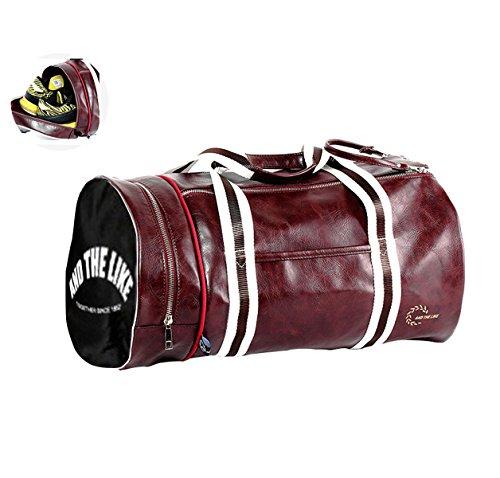 Quanjie Borsa da Palestra Impermeabile Borsone Viaggio PU Pelle Borsoni Sportivo con Vano Scarpe Separato di Travel Duffel Weekend Bag per Donne e Uomini (rosso)