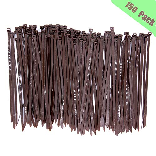 Upgrade 150 Pieces Wide Strong 8 Inch Dark Brown Cable Zip Ties, Heavy Duty 50 LBS Handheld Typical Zip Ties for Fence Fastener, Wood Brown Color Plant Gardening Tools, UV Resistant Outdoor Use