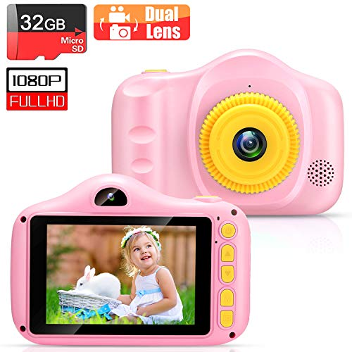 VATENIC Kinder Digital Kamera Spielzeug Geschenke für Kinder Selfie Wiederaufladbare Fotokamera Spielzeug 3.5 Zoll 1080P Doppellinse mit 32GB TF Card Geburtstagsgeschenk für 3 bis 12 Jahre (Rosa)
