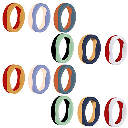 12 Pcs Dual Tone Silicone Wedding Ring, Two Color Rubber Wedding Rings Band, 5.7mm Wide 2mm Thick, Rubber Finger Band for Women Men (10)
