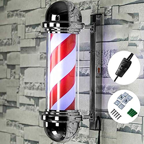 LED Classic Barber Pole Light Rotating Stripes with Light Bulb Barbershop Light - Red White Stripes- Waterproof Button Control Suitable for Business Spa/Bar,50X22cm