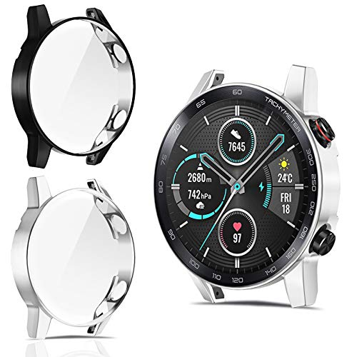 CAVN Hülle Kompatibel mit Honor Magic Watch 2 46mm Schutzhülle Schutzfolie [2-Stück], Flexibles TPU Vollschutz Bildschirmschutzfolie Kratzfest Bildschirmschutz Schutz Hülle für MagicWatch 2 46mm