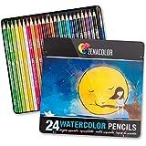24 Matite Colorate Acquerellabili, Numerate, con Pennello in Scatola di Metallo Set di Matite Acquerellabili - 24 Matite Colorate Solubili, Uniche e Diverse - Colorazione Adulti e Artisti
