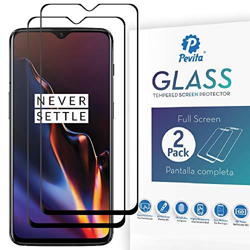 Pevita Pellicola Protettiva OnePlus 6T [2 Packs] Full Screen. Durezza 9H, Senza Bolle, Facile Installazione. Pellicola Protettiva di Vetro Temperato per OnePlus 6T