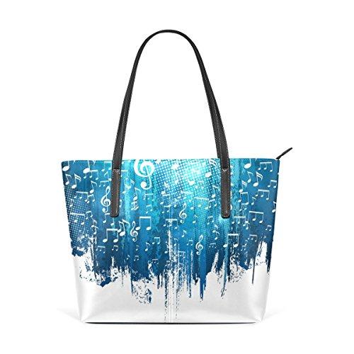 COOSUN Blue and White Music Notes Hintergrund PU Leder Schultertasche Handtasche und Handtaschen Tasche für Frauen