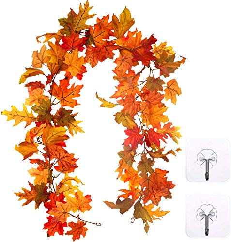 TOPB Artificial Autumn Maple Leaves Garland, Fall Hanging Plant for Home Garden Wall Doorway Fireplace Decoration Wedding Party Thanksgiving Day Decor (5.5-6 ft)