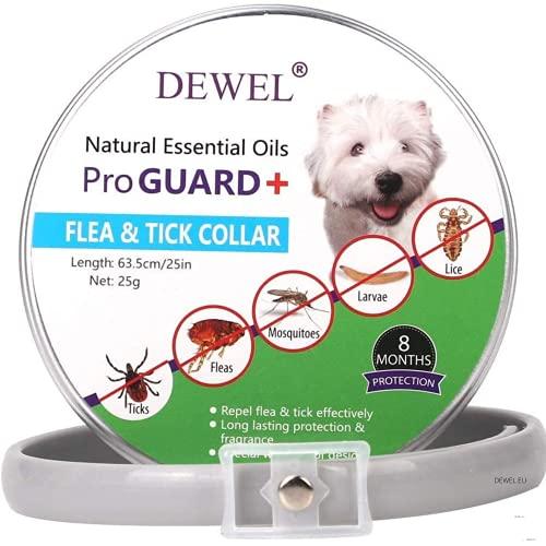 Collar Antiparasitos DEWEL para Perros y Gato contra Pulgas,Garrapatas y Mosquitos,Tamaño Ajustable e Impermeable para Mascota Pequeño Mediano y Grandes