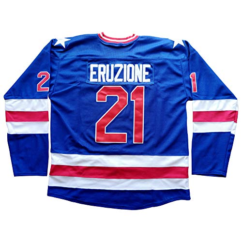 Mike Eruzione Jersey 1980 USA Olympic Hockey Jersey 21 Miracle On Ice Hockey Stitched Hockey Jerseys Blue with Captain Patch (Blue, L)