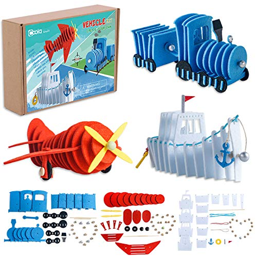 Vehicle Craft Kit - Educational Toys for Kids Ages 3-8, DIY Felt Set ,Including 3 Transportation Plane Train Ship, Fun Home Activities, Birthday Gifts for Boys & Girls Ages 3 4 5 6 7 8 and Up