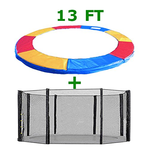 Greenbay Trampoline Replacement Safety Spring Cover Padding Pad + Safety Net Enclosure Surround Outside Netting 13 FT Foot Tri-Colour