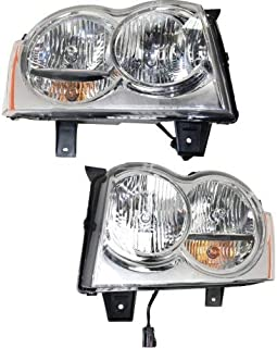 Headlight Assembly Compatible with 2005-2007 Jeep Grand Cherokee Halogen Passenger and Driver Side