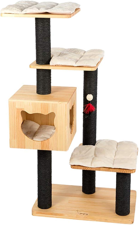 QAHMPJ Solid Wood Cat Tree, Cat Hole, L65W40H128cm