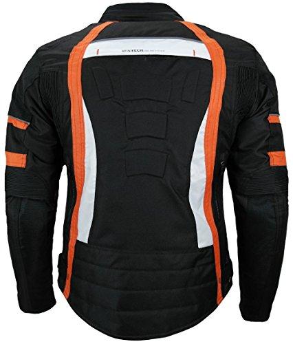 Heyberry Damen Motorrad Jacke Motorradjacke Textil Schwarz Orange Gr. S / 36 - 3