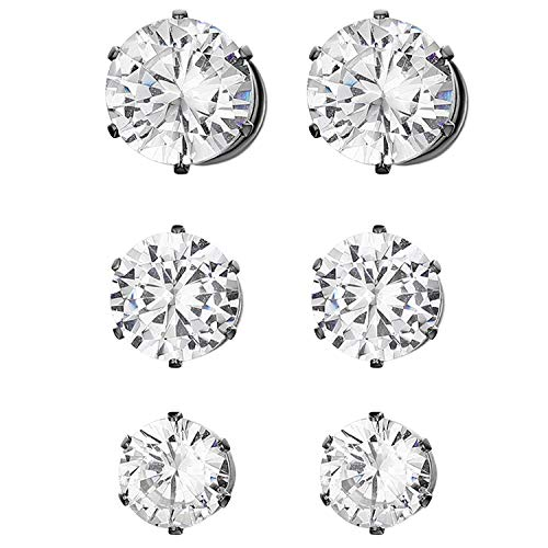 JewelryWe Schmuck 3 Paare Set Magnet Ohrringe für Herren Damen, Edelstahl Rund Zirkonia Magnetische Ohrstecker Fake Plug Tunnel Ohrclips Non-piercing Clips Ohne Ohrloch Schwarz 6-8mm