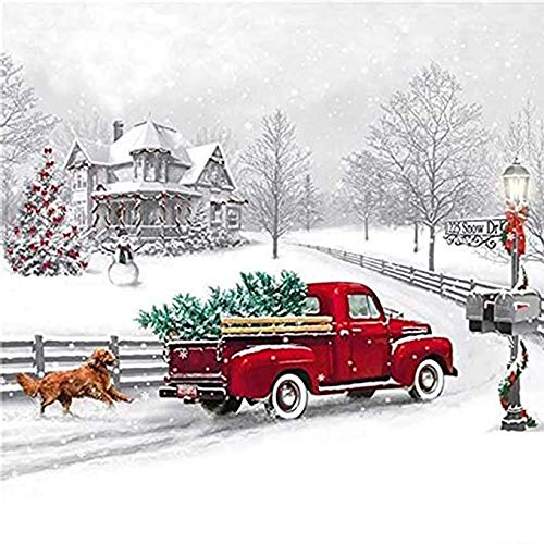 ACANDYL Paint by Number Christmas Truck DIY Painting Paint by Number Kits for Adults Kids Christmas DIY Canvas Painting by Numbers Acrylic Painting Arts Craft Decoration Christmas Tree 16x20 Inch