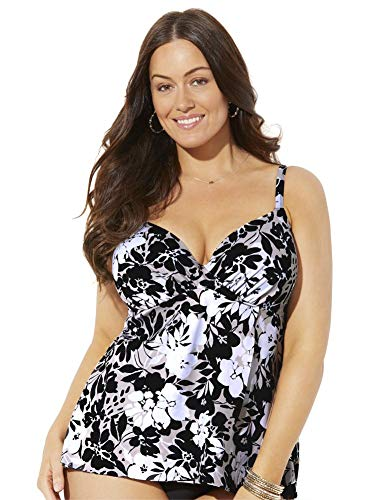 Swimsuits For All Women's Plus Size Bra Sized Faux Flyaway Underwire Tankini Top 46 F Neutral Floral