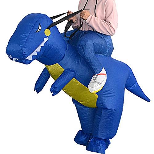 JohnJohnsen Divertido Inflable Animal Dinosaurio Montando Ropa Fiesta Cosplay Blowup Disfraz para ni?o/Adulto/Adolescente (Negro)