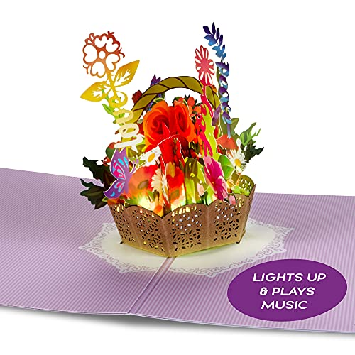 100 Greetings LIGHT & MUSIC Pop Up Card – 3D Flowers Basket Light Up & Plays Song 'Simply the Best' – Card for Mom, Wife, Anniversary Greeting Card, Happy Birthday Card from Daughter/Son/Husband