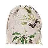 slowroom Oliven - Panera de Lino, 2 en 1, Bolsa de Pan para Almacenamiento y Pan, Transpirable y Decorativa, Modelo Azur, 30 x 34 cm, Color Natural