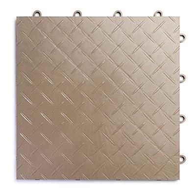 RaceDeck Diamond Plate Design, Durable Interlocking Modular Garage Flooring Tile (Single Tile), White