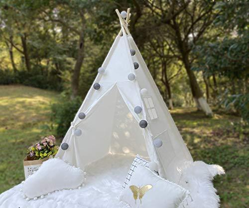 RONGFA Tragbares Tipi-Zelt für Kinder Indoor-Spielzelt Geschenke für Kinder mit einem Fenster und Zwei Taschen Weiß