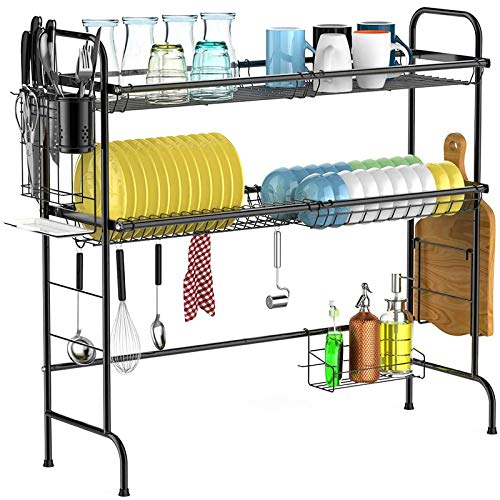 Over The Sink Dish Drying Rack, Cambond Large Dish Drainer Shelf 2 Tier Premium 201 Stainless Steel Dish Rack with Utensils Holder for Kitchen Counter, (Sink Size ≤ 31.9 inch) Black