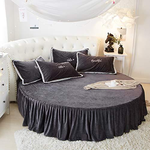 Fale Velours Lit Rond Jupe de lit,Drap Plat Couverture de lit Rond Simmons Housse de Matelas Velours de Corail Jupe de lit Douillet-N Diameter:180cm(71inch)