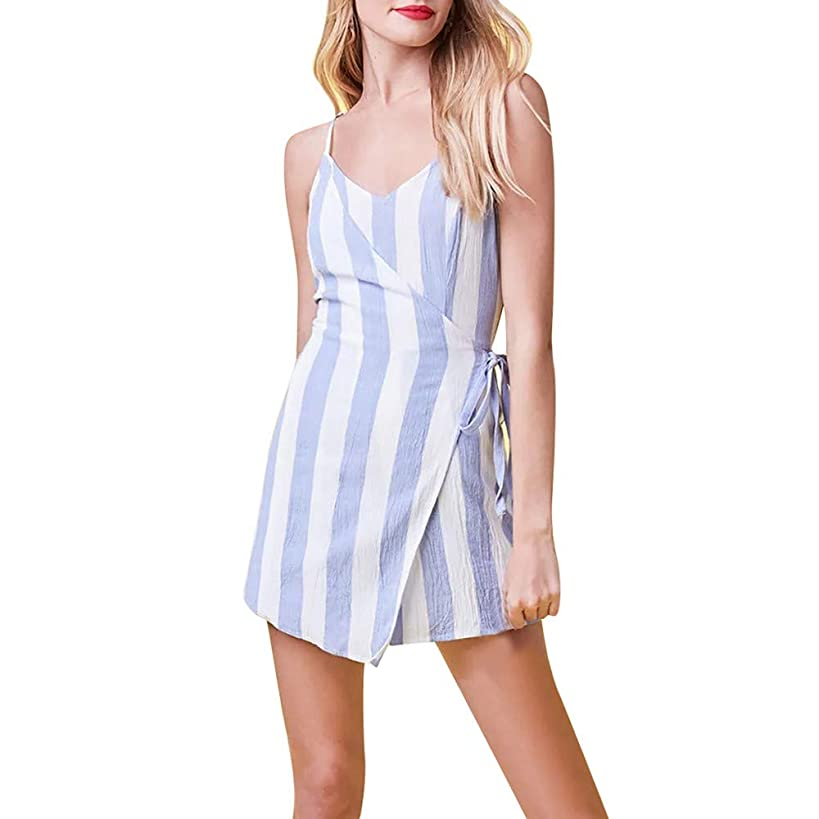 Womens Sleeveless Sexy Sling Stripe Party Backless Mini Onesie Striped Short Jumpsuit