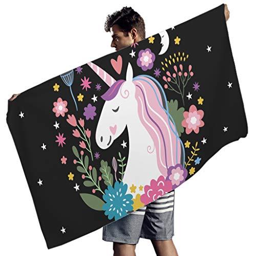 Perstonnoli Unicorn Are Real Strandtuch Microfaser Strandtücher Schnelltrocknend Strandhandtuch Badetuch Picknickdecke Strandmatte Yoga Matten Wandbehang Rechteckig White 150x75 cm