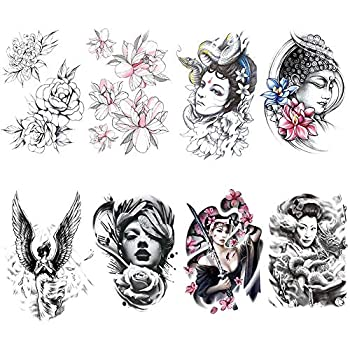 Yesallwas 8 Sheets Large Temporary Tattoo Sticker Fake Tattoos for men Girls Models,waterproof Long Lasting Body Art Makeup Sexy Realistic Arm tattoos -Rose flower,angel,lotus,Buddha 5.9x8.26inche