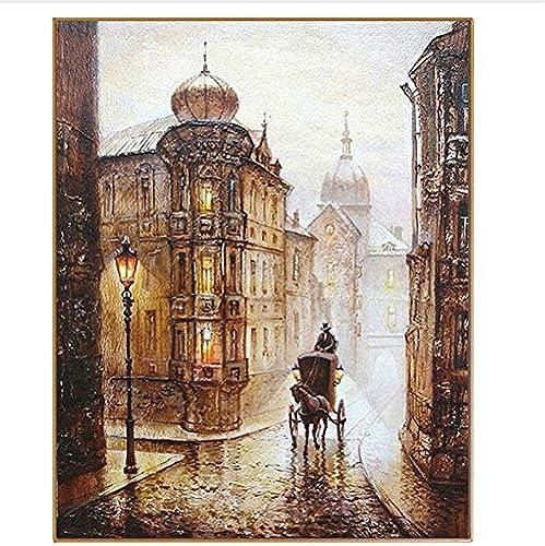 CZYYOU DIY Vintage Stra Landschaftszeichnung  em e Nach Nummer Handgemalte F ung Nach Zahlen Leinwand Bild Für Wohnkultur, Mit Rahmen, 50x6cm