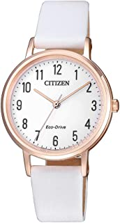 Citizen Women's Solar Powered Wrist watch, Leather Strap analog Display and Leather Strap, EM0579-14A