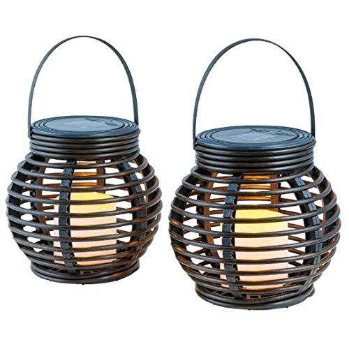 Solar Lights, LED Waterproof Solar Candle Lights, Street Lights Rattan Woven Lights for Outdoor Decoration of Garden Yard (2PCS)