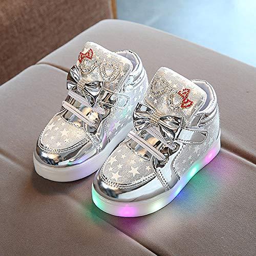 Riou Zapatillas Deportivas para Niñas LED Zapatos de Princesa Botas Dibujos Animados Antideslizante Zapatos Casuales Fondo Suave Ligeros Sandalias de Vestir Zapatillas Sneakers