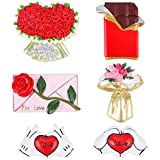 Tacobear 6 Piezas Creativo San Valentín Imán de refrigerador Regalo de San Valentín Amor Corazón Flor Rosa Chocolate Imanes Decorativos para Pizarron refrigerador Decoración hogareña