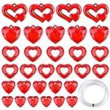 TUPARKA 73 PCS Decoración de corazón de acrílico Adornos de corazón de Cristal acrílico Set Etiquetas de Regalo Etiquetas de corazón Rojo para Suministros de Fiesta de San Valentín