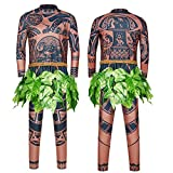 Maui Tattoo Clothing/Maui Suit/Mens Maui Costume ,Moana Maui Costume Halloween Adult Maui Men's Cosplay Costume (XXL, Brown)