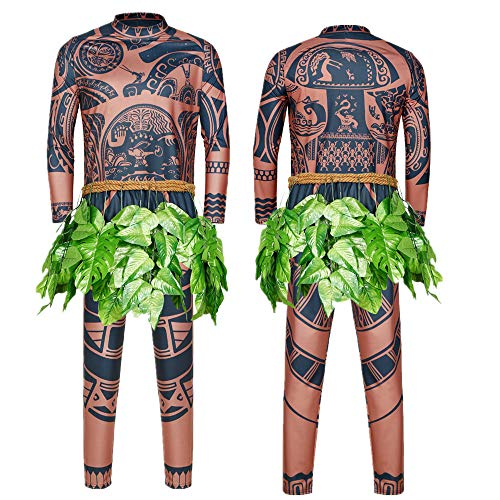 Maui Tattoo Clothing/Maui Suit/Mens Maui Costume ,Moana Maui Costume Halloween Adult Maui Men's Cosplay Costume (S, Brown)