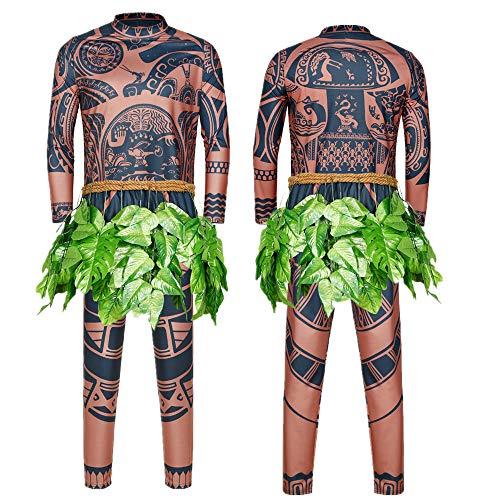 Maui Tattoo Clothing/Maui Suit/Mens Maui Costume ,Moana Maui Costume Halloween Adult Maui Men's Cosplay Costume (XXL, Brown)