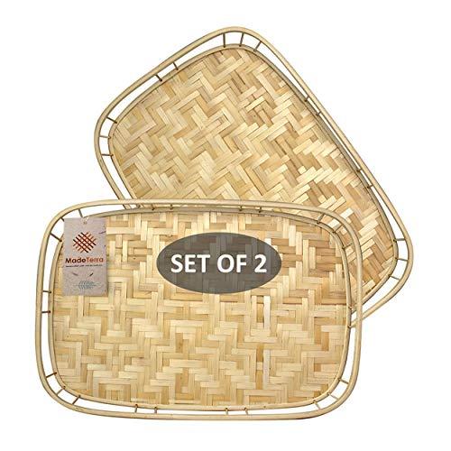 Juego de 2 bandejas rectangulares de mimbre de bambú con asas, bandejas de café tejidas a mano para café, desayuno, pan, comida, plato y bandejas decorativas para mesa de comedor