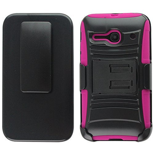 Luckiefind Compatible with Alcatel One Touch Evolve 2 / 4037T, Alcatel Pixi Pulsar A460G, Hybrid Armor Stand Case with Holster and Locking Belt Clip.(Holster Pink)