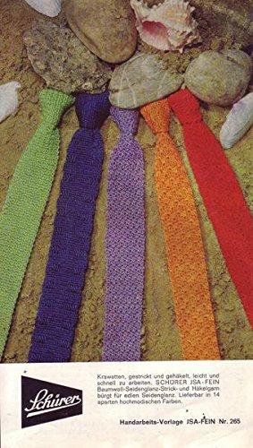 Schürer JSA-Fein Baumwoll-Seidenglanz-Strick und Häkelgarn, Krawatten, gestrickt und gehäkelt Handarbeits-Vorlage JSA-Fein Nr. 265
