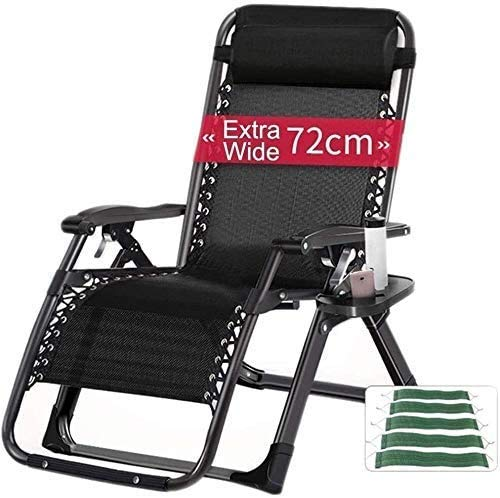 Sun Lounger Reclining Chairs Zero-gravity Folding Garden Bed For Large Garden Suitable For Porch Garden Deck Lawn Lawn Portable Camping Chair Supports 200 Kg sun lounger chair (Color, Black),Black