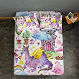 HomHomHa Dragon and Castle Kids Bed Sheets Set Full Size Cartoon Dragon Bed Fitted Sheet Set for Bedroom Pink Sheets Set