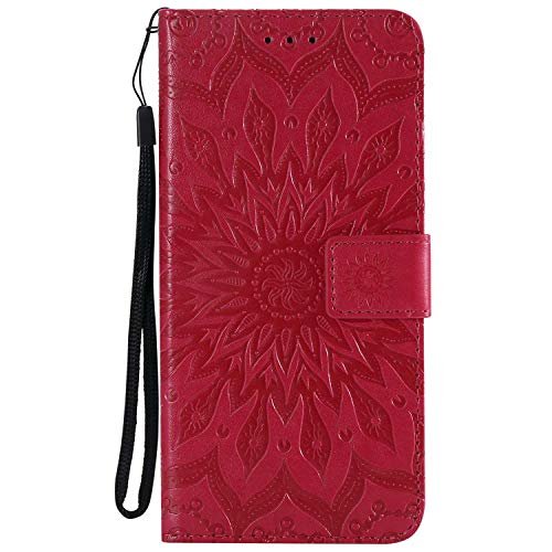 KKEIKO Hülle für Huawei Honor 8X, PU Leder Brieftasche Schutzhülle Klapphülle, Sun Blumen Design Stoßfest Handyhülle für Huawei Honor 8X - Rot
