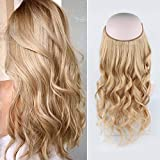 Sassina 20inch Halo Extensions Remy Human Hair Ash Blonde Color #18 Natural Straight Invisible Fish Line Hair One Piece 120g