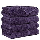 Towel Bazaar Premium Turkish Cotton Super Soft and Absorbent Towels (4-Piece Bath Towels, Plum Purple)